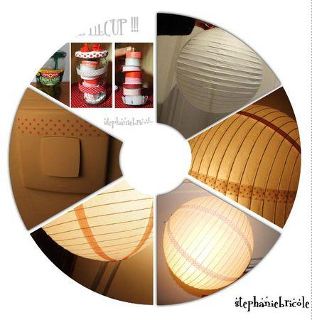 customiser une boule japonaise avec du masking tape, lampe chinoise masking tape