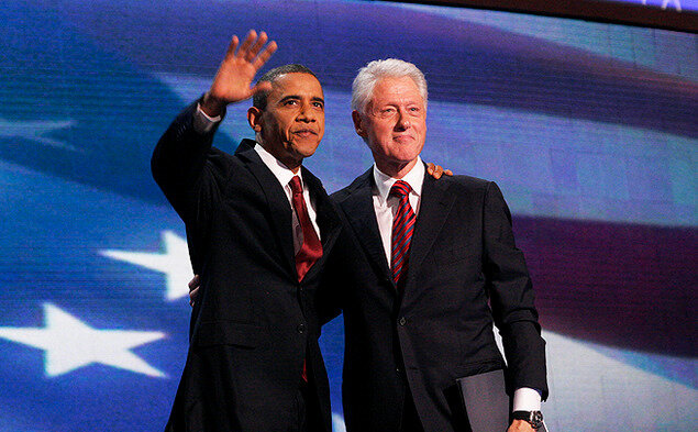 Barack Obama and Bill Clinton at 2012 democratic convention