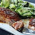 Saumon laqué aux saveurs asiatiques et ses rubans de courgette