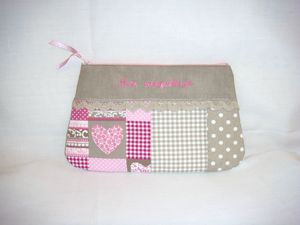Trousse maquillage romantique coeur vichy pois face flash