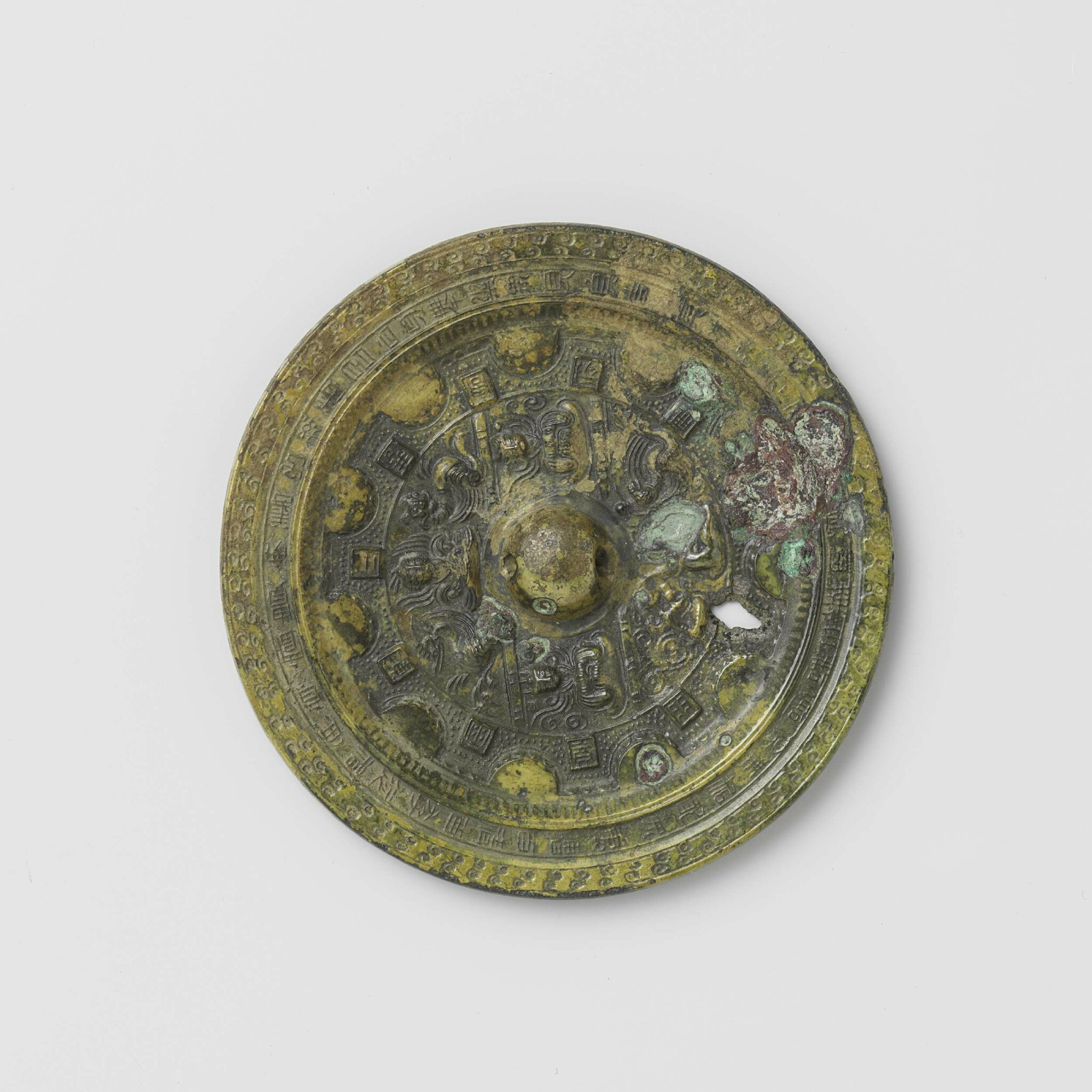 Bronze mirror with geometric patterns and stylized animals, Three Kingdoms period, 200-300