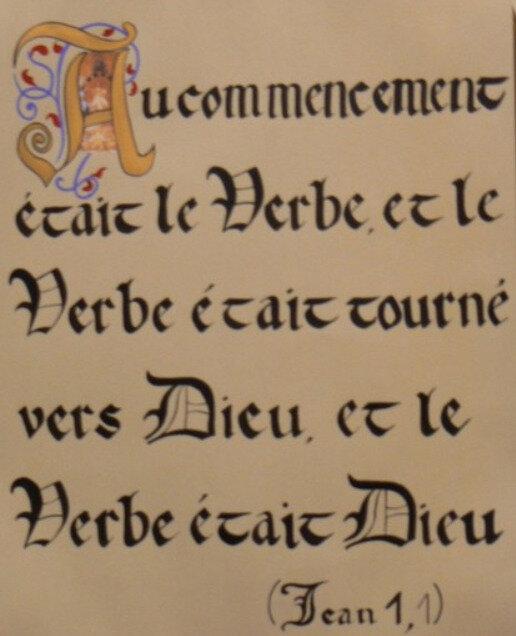 Jn 1, 1, calligraphie