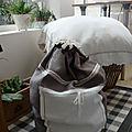 sac à linge lin taupe
