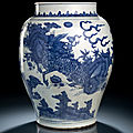 A large blue and white kirin and phoenix jar, 17th century