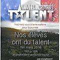 Mardi 1er mars: nos élèves ont du talent!