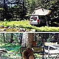 Instant zen en cévennes, avec sa tente de toit hussarde quatro. bivouac détente en famille, en pleine forêt.