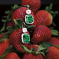Impressive and fine pair of 10.73 and 9.52 carats colombian emerald and diamond pendent earrings
