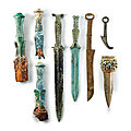 Seven dian bronze daggers and a bronze spearhead, warring states period