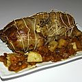 Rôti de dinde aux patates douces et aux pommes de terre au thym ( sac cuisson au four )