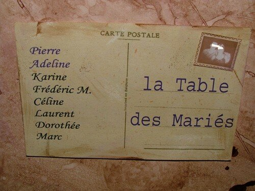 Détail plan de table : carte postale