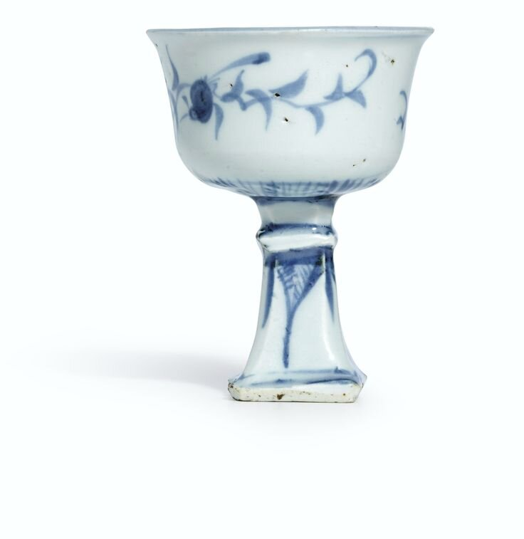 A blue and white stemcup, Yuan dynasty