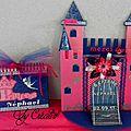 Urne chateau de princesse et son livre d'or fuschia/bleu marine