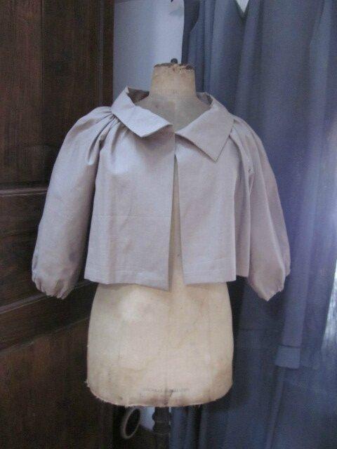 Veste Blanche en lin enduit mastic (1)