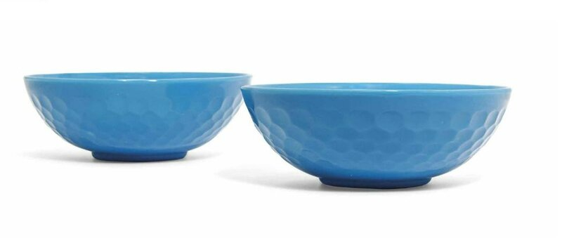 A pair of Chinese turquoise glass bowls, 19th-20th century