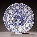 A highly important blue and white large 'fish' dish, yuan dynasty, 14th century