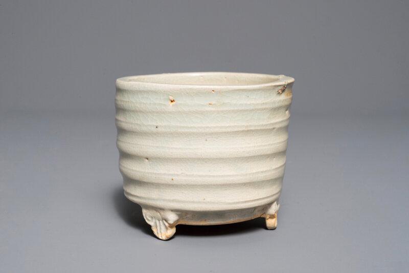 A Chinese cylindrical Qingbai tripod incense burner,Song-Yuan dynasty