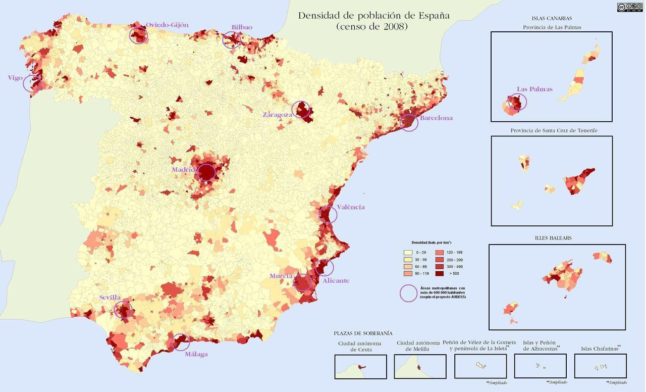 Population density of Spain, 2008