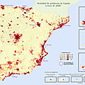 Population density of Spain, 2008