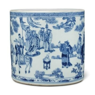 An unusual large blue and white brushpot, Kangxi period (1662-1722)
