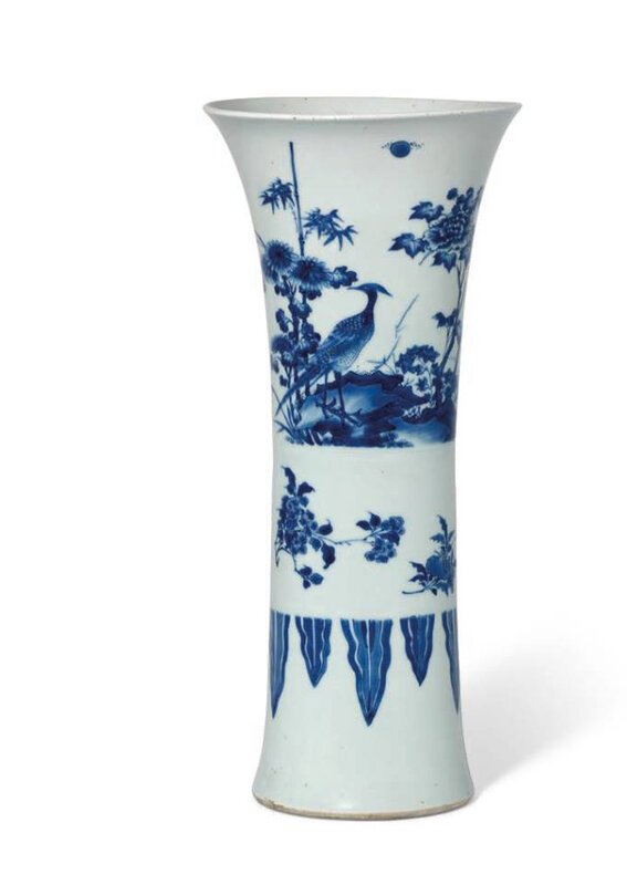 A blue and whitegu-form 'Bird and Flower' vase, Transitional period, mid-17th century