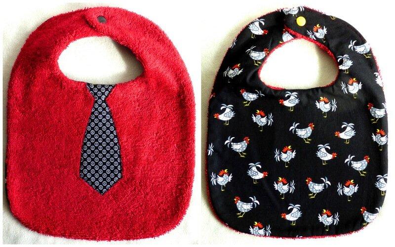 bavoir cravate noir et poulettes