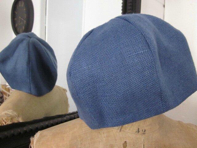 Chapeau en lin bleu france (3)