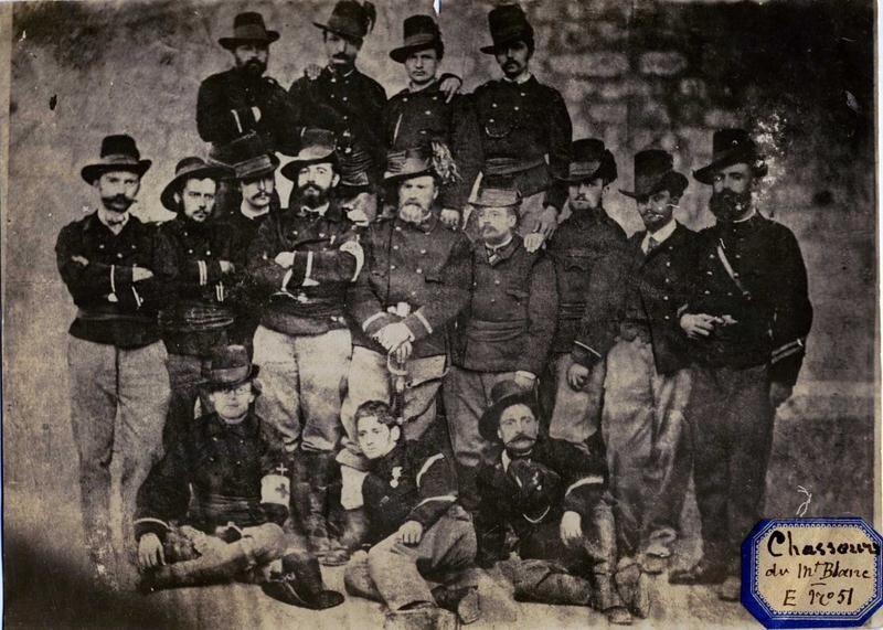 Officiers, s-officiers et chef de triade, des chasseurs des Alpes, francs-tireurs de la Savoie (1870)