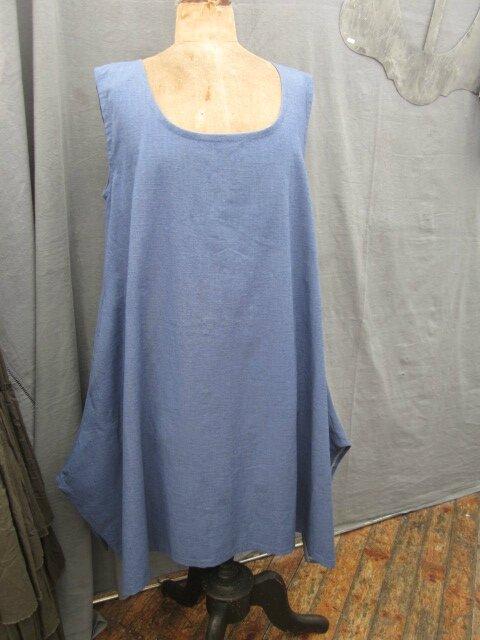 Robe EUPHRASIE en lin bleu (2)