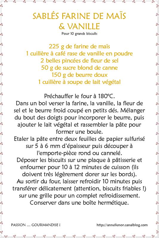 Sablés farine de maïs & vanille_fiche