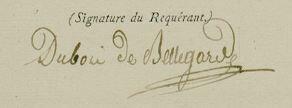 Dubois de Bellegarde fils signature