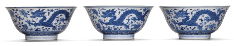 Three blue and white 'Dragon' bowls, Jiaqing seal mark and period (1796-1820)