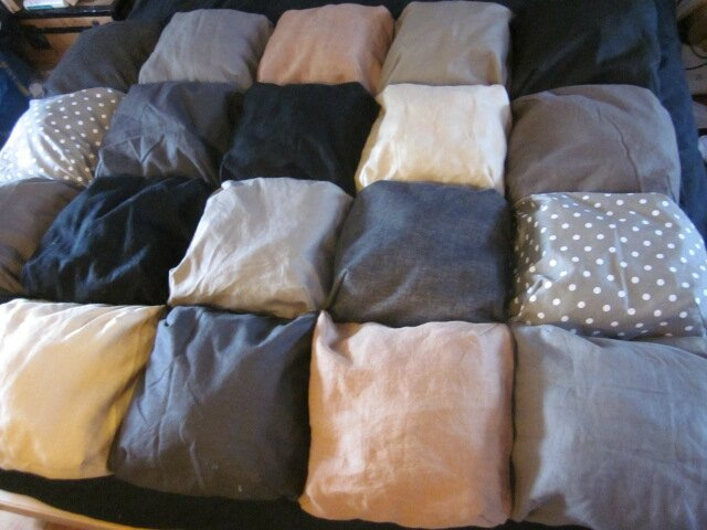 EDREDON 20 coussins lin et coton BEIGE et NOIR n°2 (1)