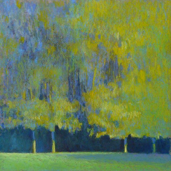 arbres bleus jaunes