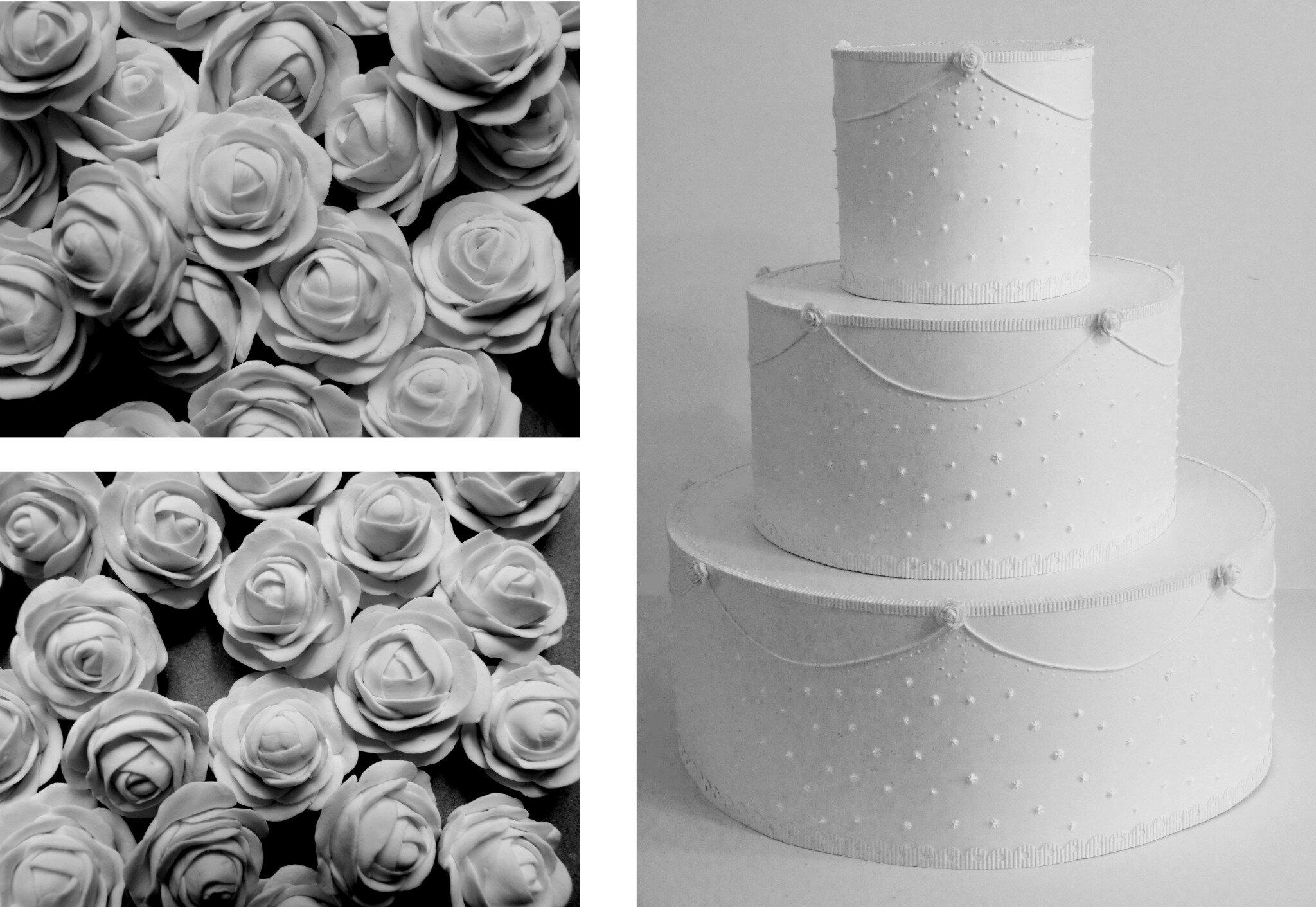 Gâteau tout blanc, présentoir à dragées, mariage