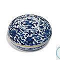 A blue and white cosmetic box and cover, wanli six-character mark in underglaze blue within a double circle and of the period