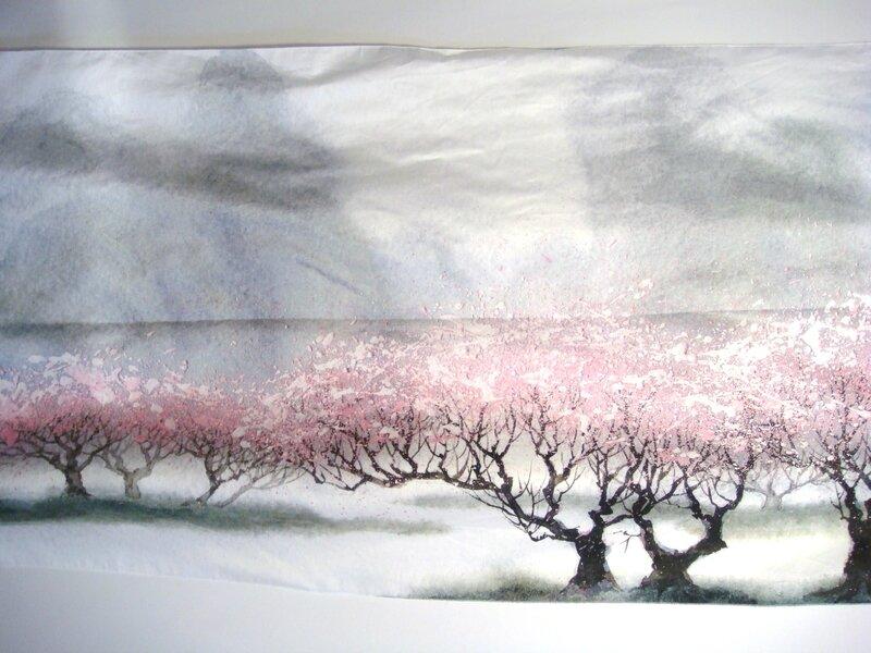 Etole cerisiers fond gris moi plat