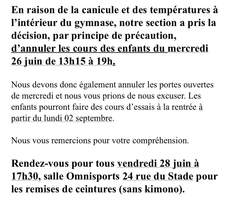 CANICULE ANNULATION COURS 260619