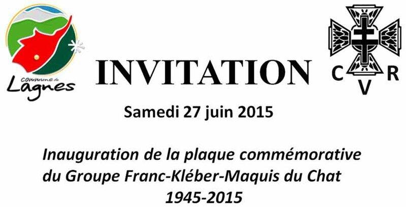 Inauguration Plaque Groupe Franc Kléber, 27 juin 2015