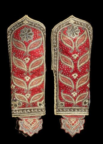 A rare pair of fine metal-thread embroidered Arm Guards, Mysore, late 18th Century