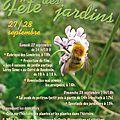 Fête des jardins les 27 et 28 sepembre!