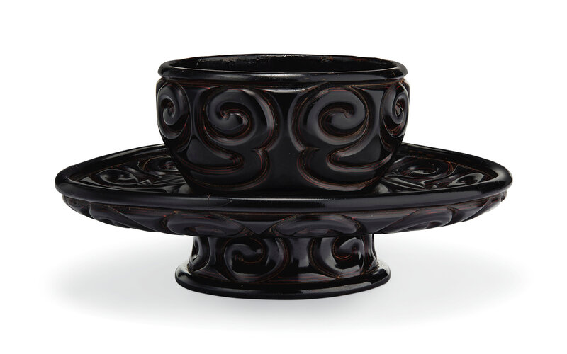 A tixi lacquer cup stand, Yuan-Early Ming dynasty