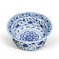 A very rare and finely painted blue and white basin, yongle period (1403-1424)