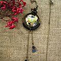 collier perle bombé papillon noir2