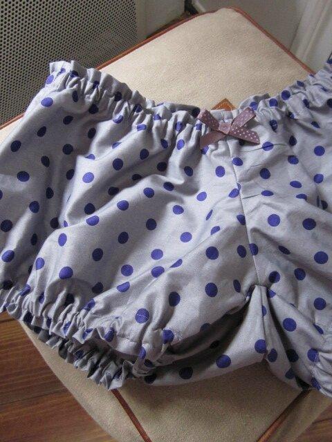 Culotte BIANCA en coton parme grisé à pois violet (4)
