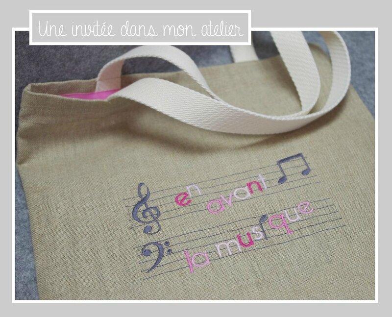 Tote bag-En avant la musique-rose