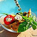 Salade de pâtes très provençale, sauce basilic, confit 3 légumes, cubes de fromage, mini poivrons et poulet fermier