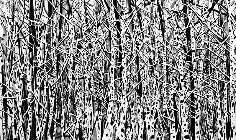 neuronal forest in my brain, encre de chine 35 x 23 cm, janvier 2020