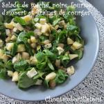 Salade mache, poire, fourme d'ambert et graines de courges
