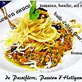 Plat provençal - pâtes sauce basilic - tomates - ail noir - huile d'olive