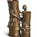 An extremely rare bronze-imitation gilt-splashed 'bamboo' double vase, qianlong seal mark and period (1736-1795)